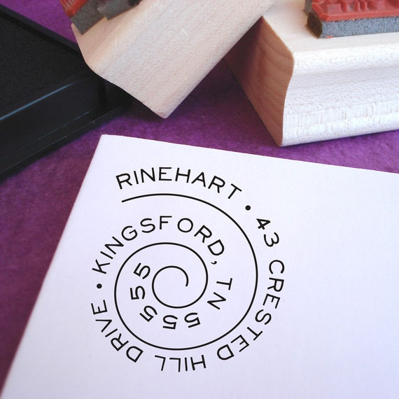 Swirly Spiral Customized Address Stamp