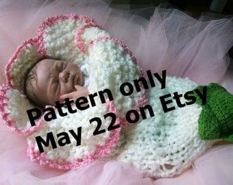 FLOWER cocoon PDF PATTERN knit knitting Instant download Original design Lily Amaryllis Bell crochet sepals baby girl boy present