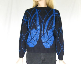 Vintage 80s Hipster Sweater. Black and Metallic Blue Sweater