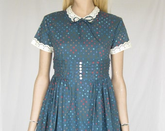Vintage 50s Blue Polka Dot  Party Dress. X Small