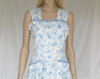 SALE....Vintage 50s Blue and White Cotton Summer  Day Dress