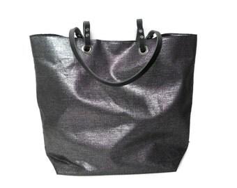 Black Tote Bag, Black Bag, Casual Tote Bag, Tote, Metallic Linen Tote Bag, Cool Bag, Handbags, Beach Bags, Independent Design