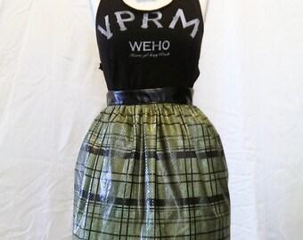 Short Gathered Faux Leather Plaid Skirt Medium