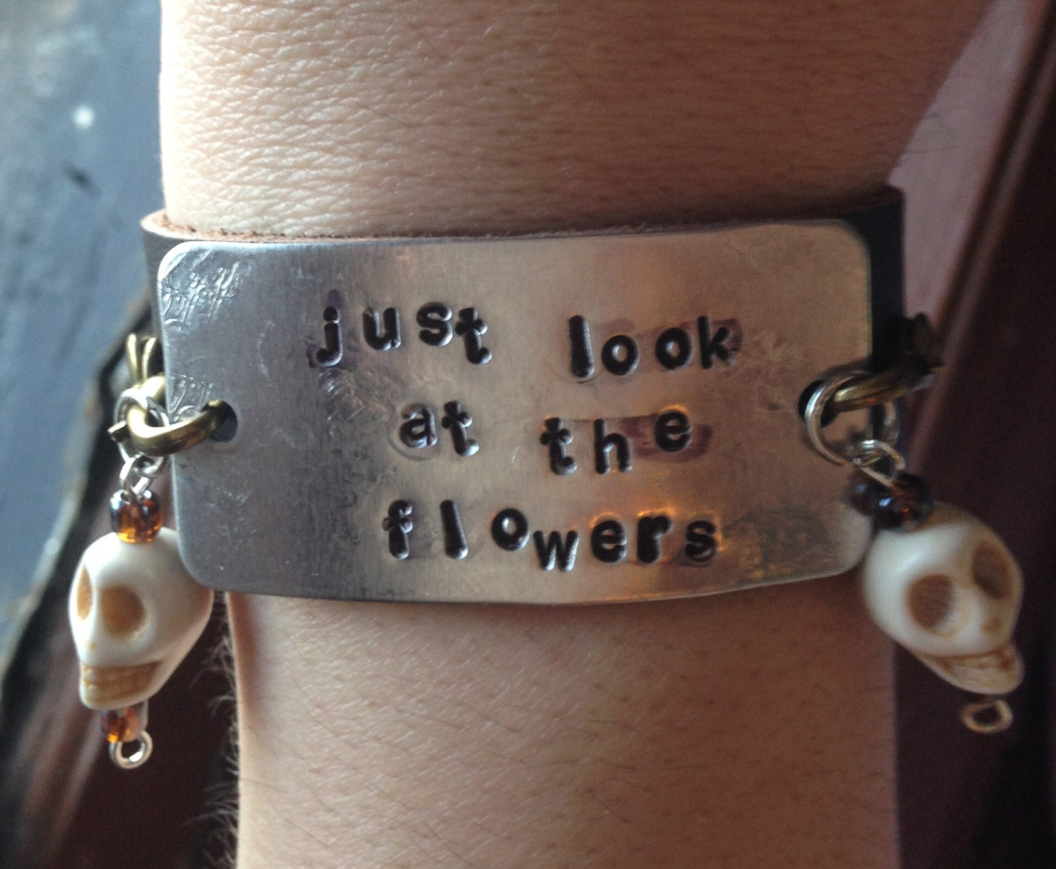 Just Look at the Flowers Brown Leather Cuff Bracelet TWD