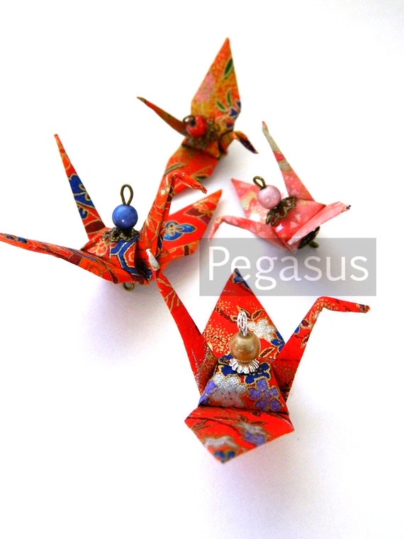 Mixed Red Washi Paper Cranes (Set of 10) Wedding Cake Topper, Favor, Christmas Ornament ,Origami Crane,Asian Art - Traditional decoration