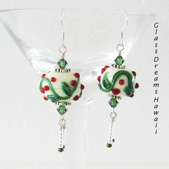 Lampwork Earrings, Glass Dangle Earrings, Holiday Holly Earrings, Christmas Earrings,Handmade Festive Earrings, unique Earrings, Earrings