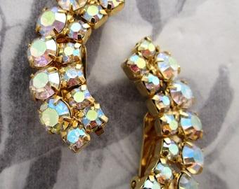 vintage prong set rhinestone AB earrings - j5327