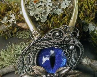 Gothic Steampunk Purple Blue Dragon She Devil Pin Brooch Pendant
