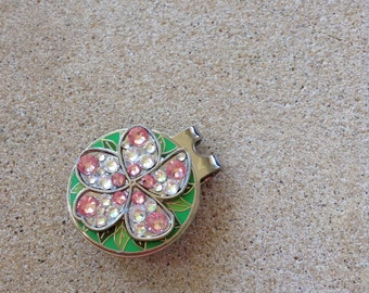 Plumeria flower ball marker and Hat Clip hand-embellished with Ocean-colored Swarovski Crystals