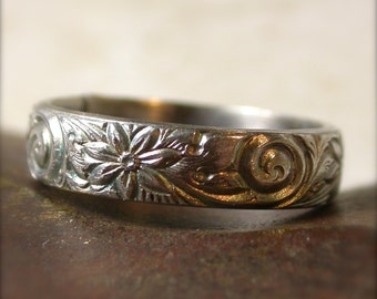 Sterling Silver Floral Swirl Patterned Band Wedding Engagement Ring - Made to Order