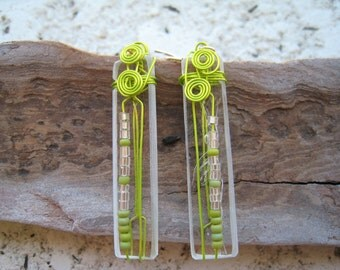 RECYCLED glass earrings ... Old Window Pane ... Wire Wrapped  UNIQUE