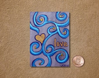 Love in Blue and Gold Swirls ACEO Original Watercolor Painting