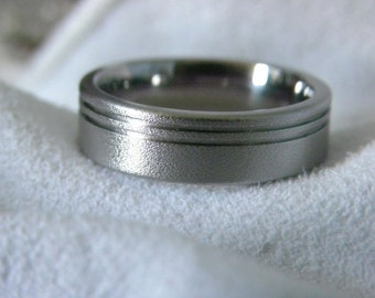 Titanium Ring with Double Offset Pinstripe Grooves Burnished