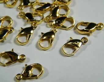 50 shiny gold zinc alloy lobster clasps