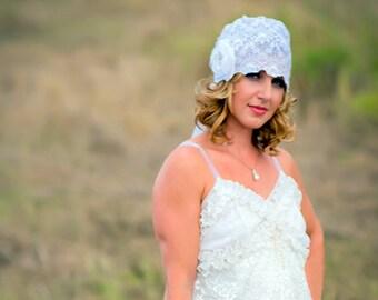 Vintage Couture Custom Made Silk  Lace Bridal Cap/flower Brooch/Detachable Veil  CRBoggs Original