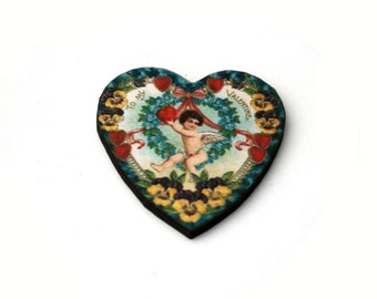 Heart Brooch, Valentines Illustration, Wood Jewelry