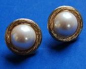 Vintage Trifari Earrings Faux Mabe Pearl Gold Tone Pierced Vintage