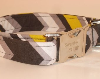 Cool Citron Stripes Dog Collar by Swanky Pet