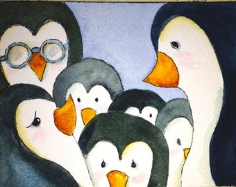 Art Cards Original Watercolor of Penguins Artist Trading Cards ACEO Art Card Wall Art