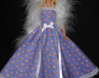 3 Piece Barbie Doll Dress Handmade Gown Purple with Pink Flowers with Boa and Necklace