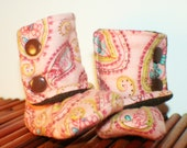 Clearance!! Pink, Aqua, and Chocolate Brown Baby Bootsies baby boots