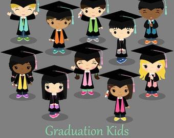 Graduation boys and girls, graduates,Children  Digital Clipart, clip art collection