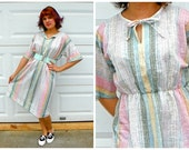 SALE 1970s Vintage Pastel Rainbow Striped Day Dress with Bow Tie Neck Short Sleeves Pencil Size Medium