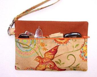 Tan Orange Wristlet, Bird Print Clutch, Peach Wallet, Turquoise Floral Makeup Bag