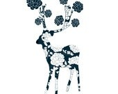 Lovely Deer Print - White Flowers - Flower Rose Illustration Art Print Animal Children decor, Kids Room, Wedding Birthday Anniversary Gifts