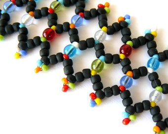 Black and Multi Colored Bracelet Netted Beadwork Cuff Bright Colorful Jewelry Multicolor Bead Weaving