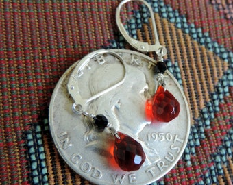 Red n Black  Earrings, Sterling Silver