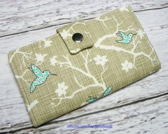 SALE - Handmade Long Wallet  BiFold Clutch- Vegan Wallet - Bluebird park teal Humming Birds