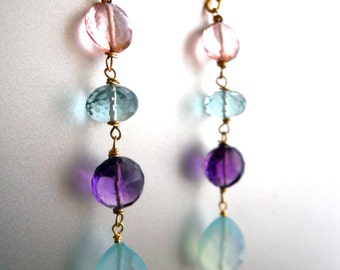 Rainbow earrings, Gemstone Earrings, In the Garden Earrings, amethyst, chalcedony earrings, quartz earrings, colorful earrings, gift idea