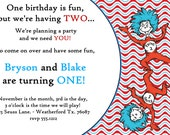 Dr. Seuss / Thing One Thing Two Twins Birthday Invitations with matching Thank You Cards