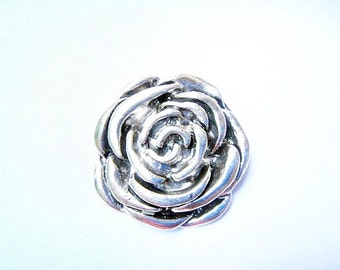 37mm oxidized silver rose pendant - C84