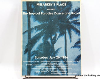 1980s Melarkeys Bar & Grill Poster Tropical Dance Social