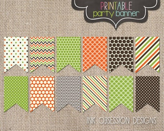 Printable Fall Bunting Banner Instant Download PDF in Orange Green & Brown Polka Dots Chevron and Stripes