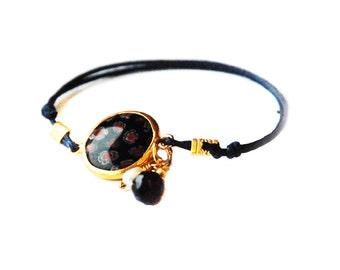 Murano Glass Gold Coated Silver Bracelet