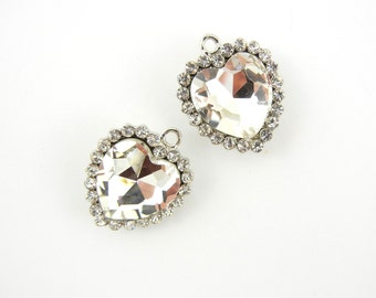 Pair of Crystal Heart Charms Silver-tone Rhinestone Edged