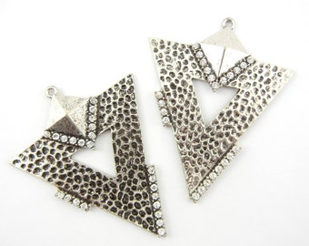 Pair of Large Burnished Silver-tone Textured Triangle Drop Charms Rhinestones