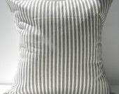 New 18x18 inch Designer Handmade Pillow Cases in black on cream ticking stripe