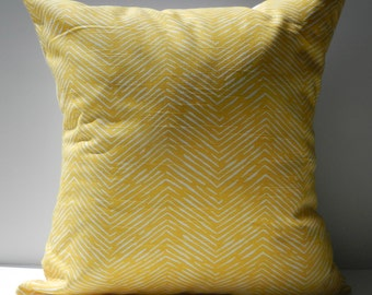New 18x18 inch Designer Handmade Pillow Case yellow chevron pattern.