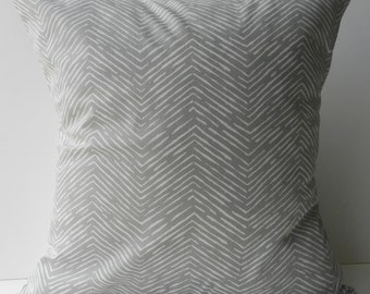 New 18x18 inch Designer Handmade Pillow Case grey chevron pattern.