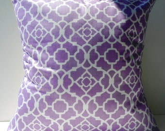 New 18x18 inch Designer Handmade Pillow Case in purple and white lattice pattern.