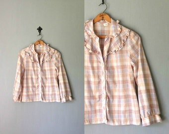 Vintage BACKWOODS Shirt • 1970s Clothing • Button Up Long Sleeve Blouse • Pastel Plaid Ruffle Gold Thread • Made in USA • Women Small Medium