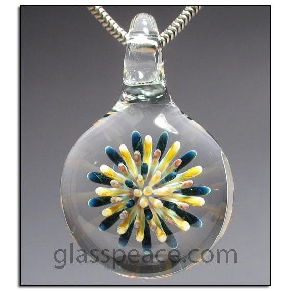 Blown Glass Pendant imploison lampwork focal bead - Glass Peace glass jewelry (5661)