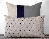 AS SEEN on Homepolish: Decorative Linen Pillow Set, Cross Stitched Pillow Cover (12x20) and Colorblock Pillow (20x20) by JillianReneDecor