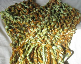 WINTER OFFER - Autumn Leaves Hand Knitted Long Soft Warm Merino Wool Wraparound Scarf