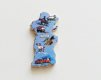 POWYS Wales Brooch - Lapel Pin - Pendant, Cornflower Blue Wood Brooch, Upcycled 1960s Wood Puzzle Piece, Wearable History Pin, Gift Under 20