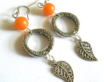 SALE - Silver leaf earrings, Long silver and agate glass dangle arrings,  Bohemian  jewelry